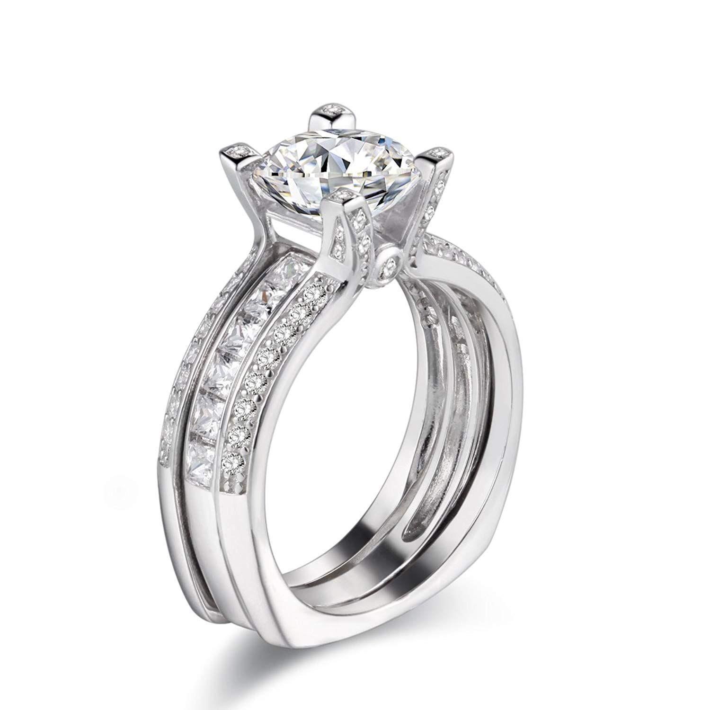 Newshe Jewellery Wedding Band Engagement Ring Set Women