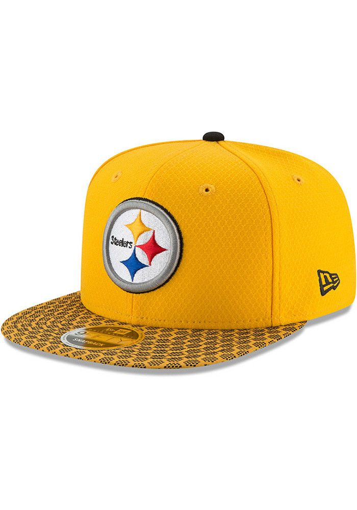 New Era Pittsburgh Steelers Yellow 2017 Official Sideline Mens Snapback Hat  - 5903835 edadd67a831