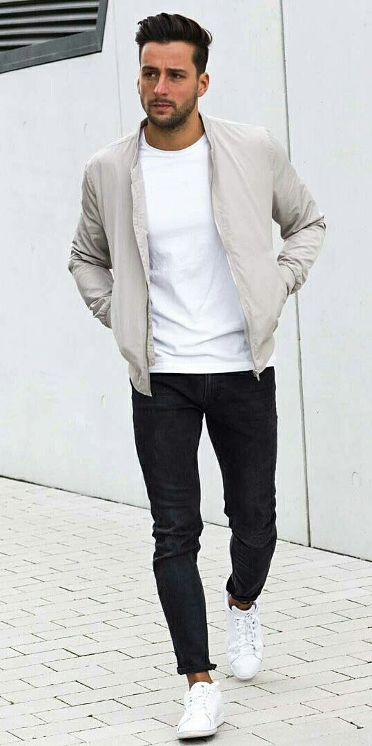 Monochrome casual street style combo with a cream bomber