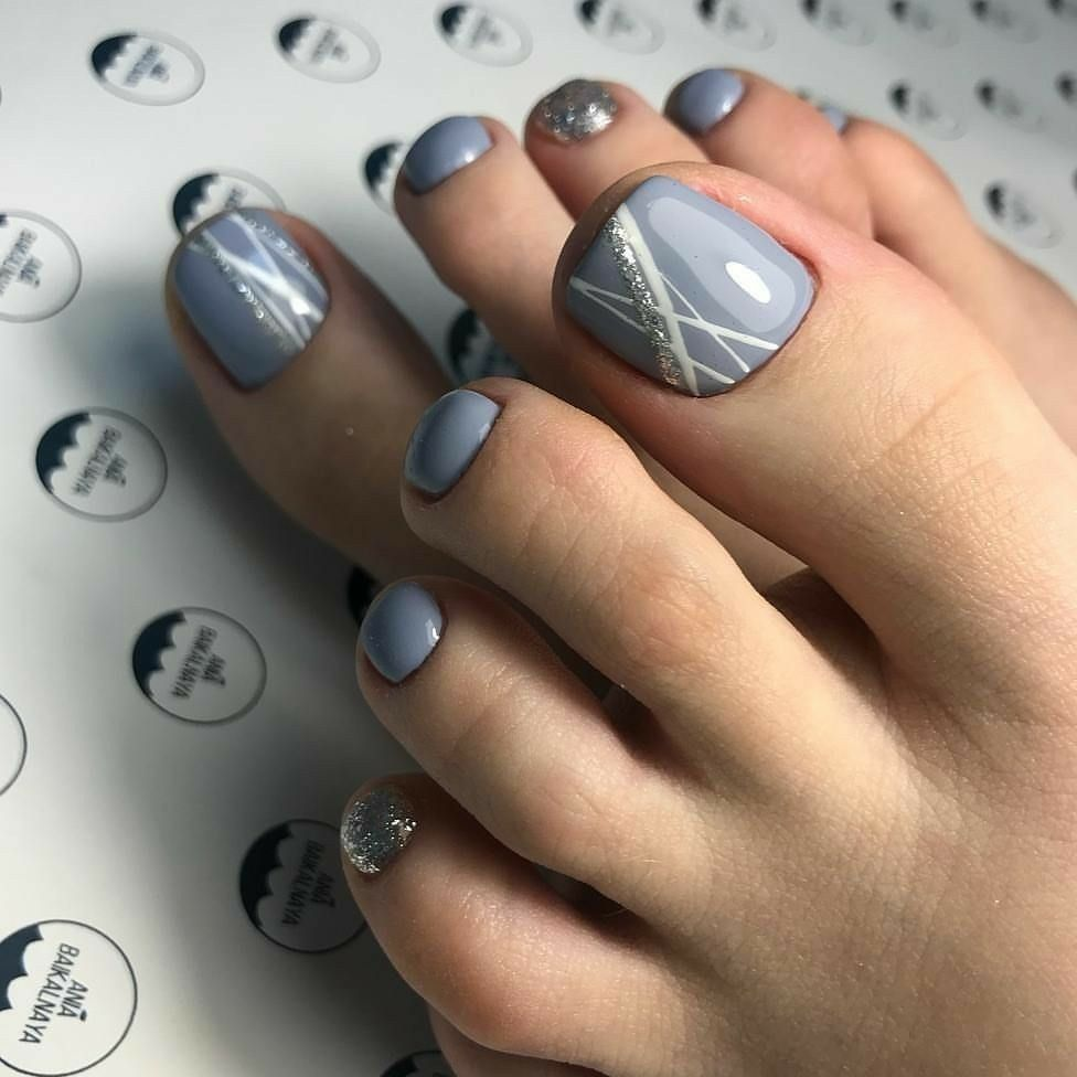 Glittered And White Lines On Blue Grey Pedicure Designs Toenails Summer Toe Nails Toenail Art Designs