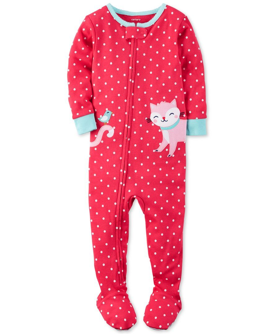 1246353e1b98 Carter s 1-Pc. Dot-Print Cat Footed Pajamas