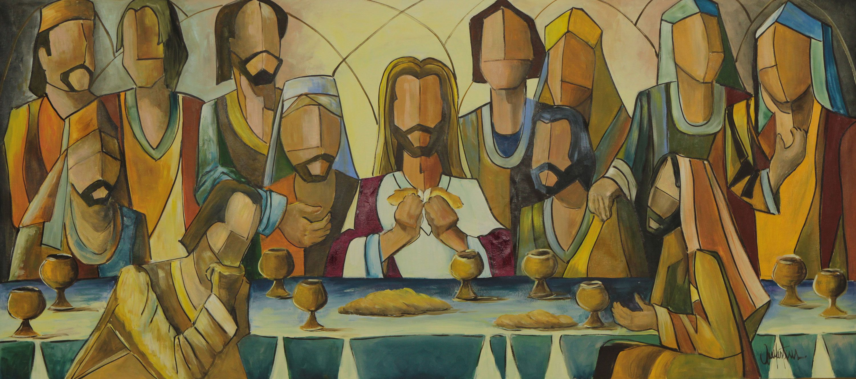 Modern Brazilian Painting of the Last Supper (2013), 'Christ and ...