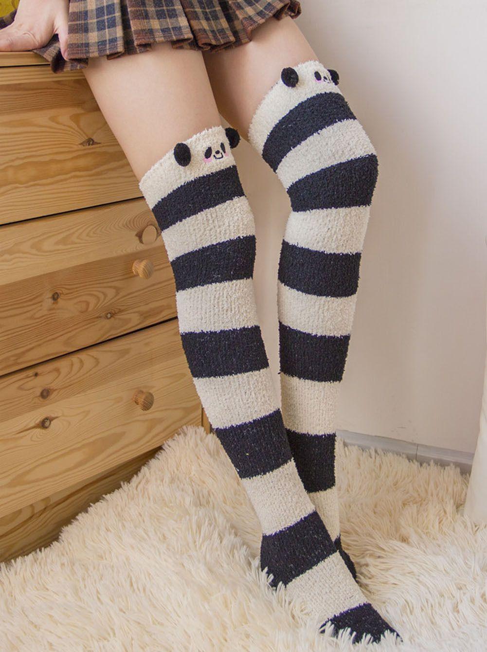 11.99 - Cute Animal Coral Fleece Knee  Thigh High Striped Socks Stocking  For Women Girls  ebay  Fashion 8deeb40edadc