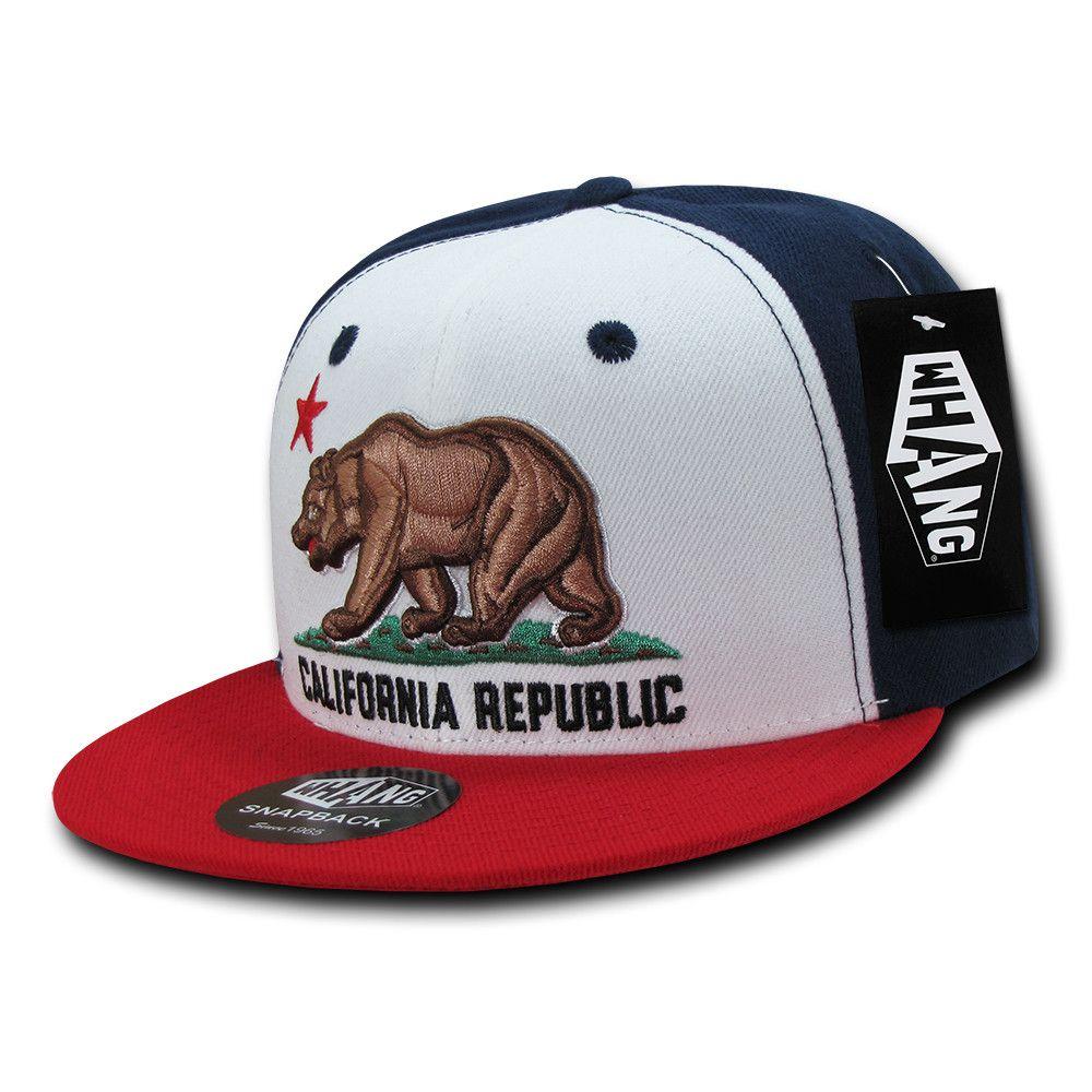 California CALI Bear Baseball Cap Snap back Hat Flat Bill Embroidery BLACK NAVY