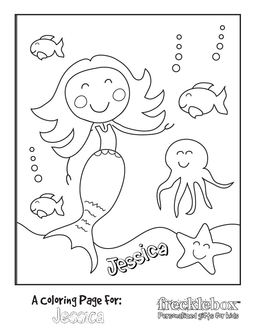 Personalized Printable Coloring Page Mermaid Party