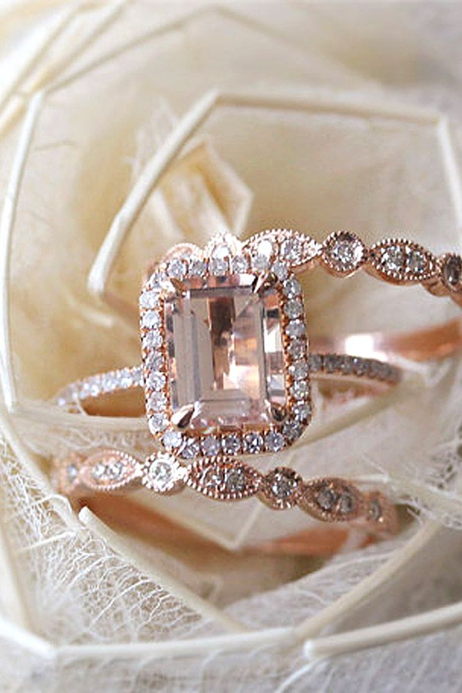 30 morganite engagement rings we are obsessed with - Morganite Wedding Ring Set
