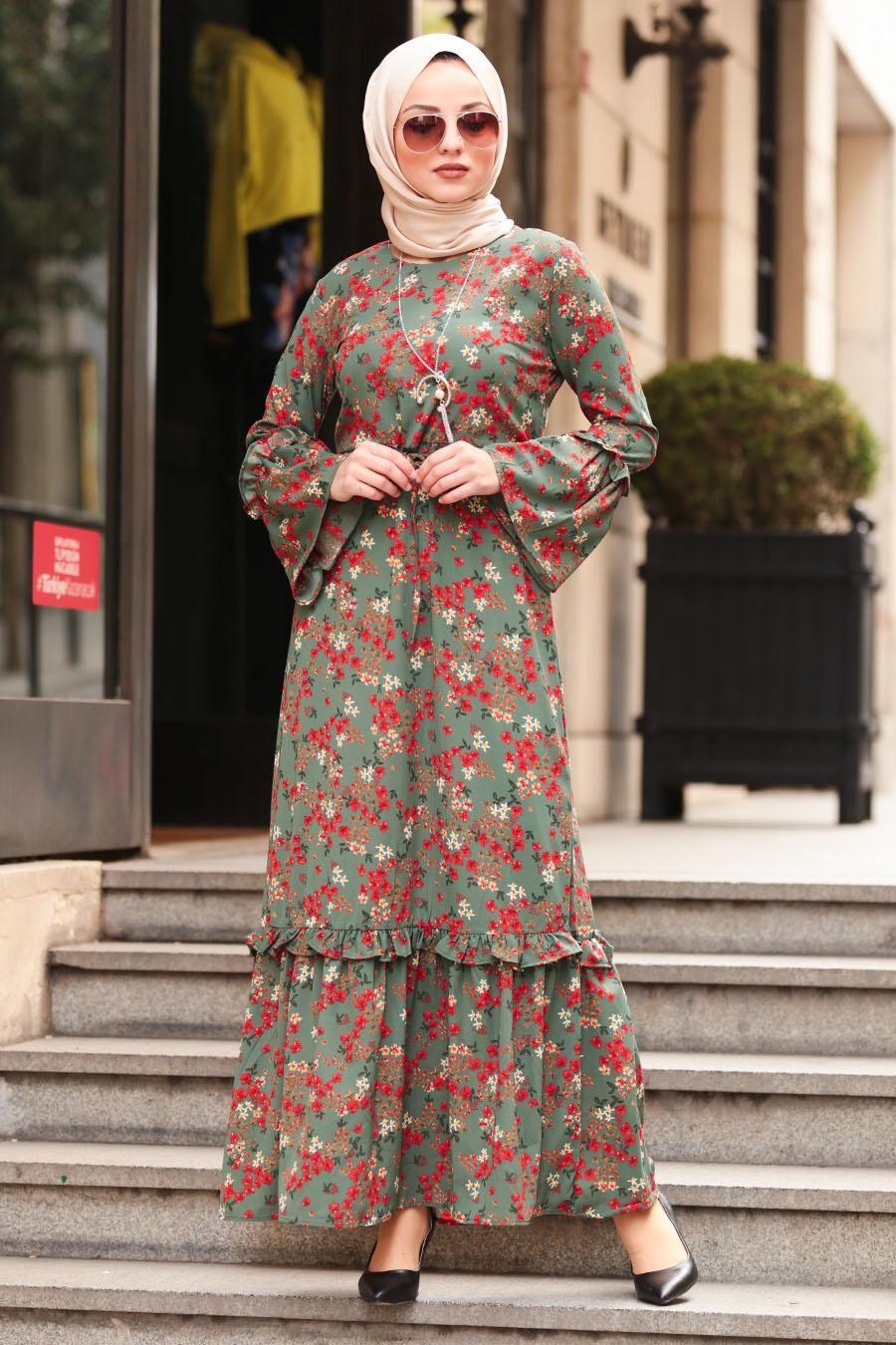 Nayla Collection - Volan Kollu Çağla Yeşili Tesettür Elbise 1254CY - Tesetturisland.com