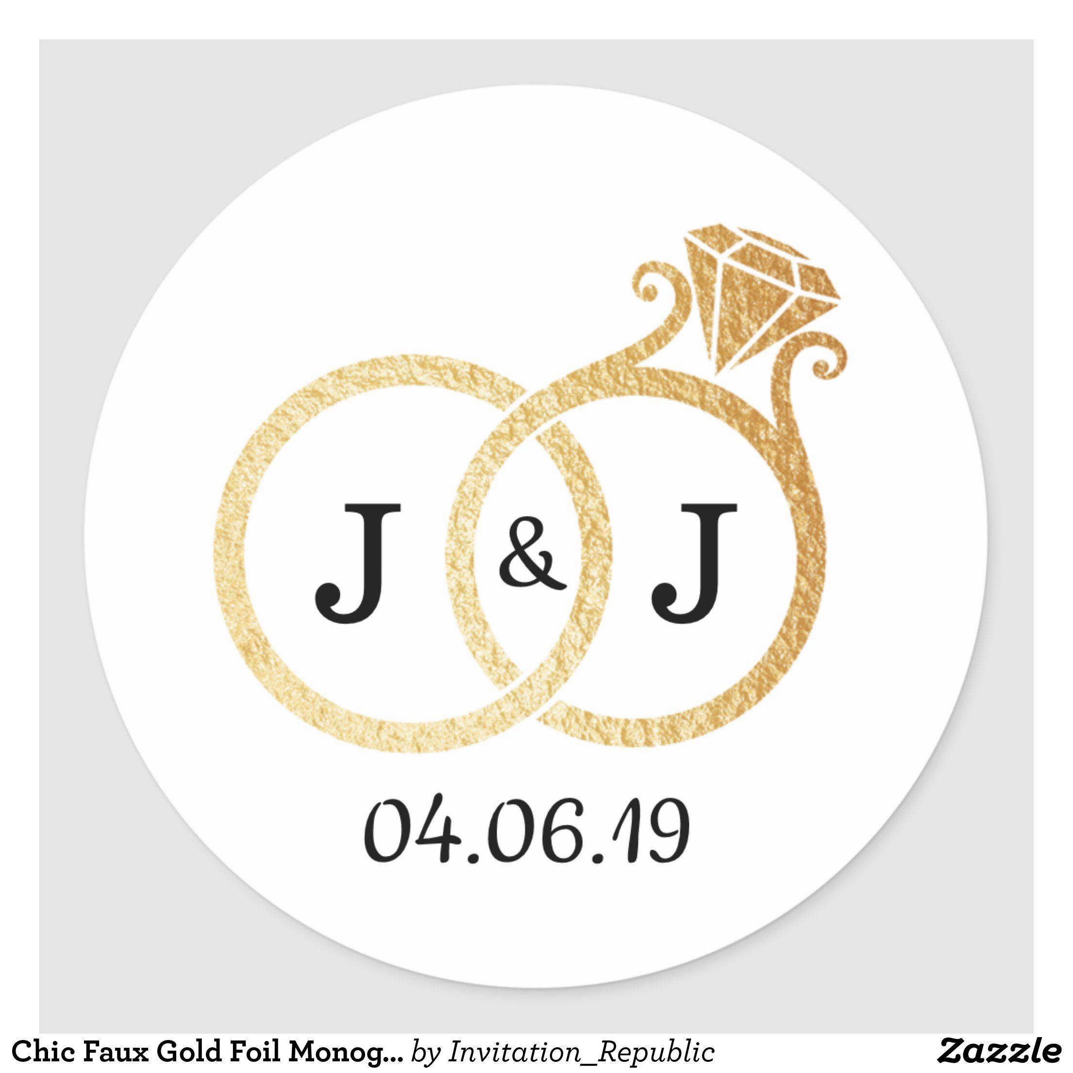 Chic Faux Gold Foil Monogram Wedding Rings Classic Round Sticker Zazzle Com Faux Gold Foil Monogram Wedding Wedding Stickers