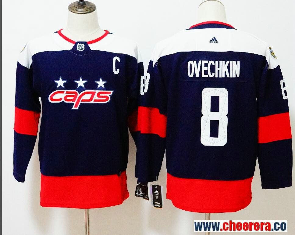 bfc27ab55 Men s Washington Capitals  8 Alexander Ovechkin Navy Blue 2018 Stadium  Series Stitched NHL Hockey Jersey