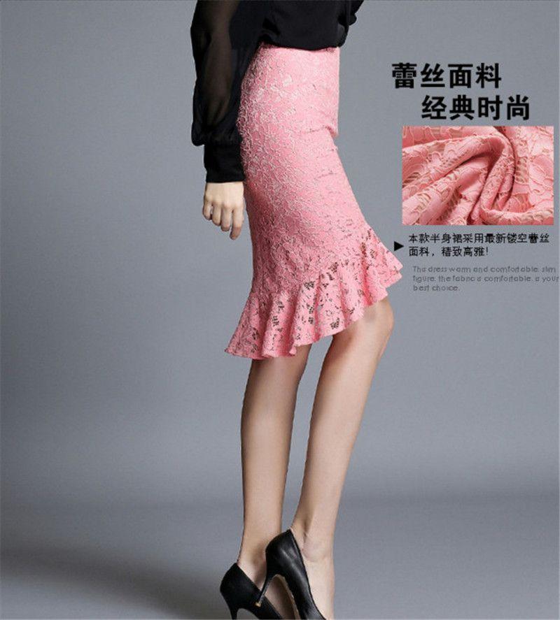 Aliexpress.com: Comprar Más el tamaño negro de encaje falda lápiz ...