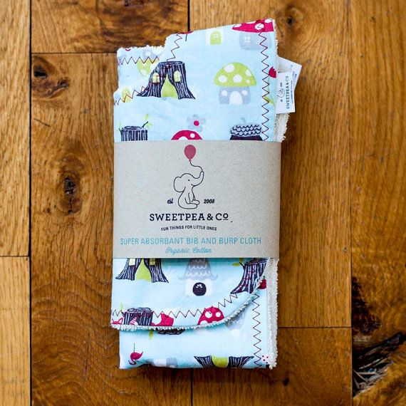 Wash Burp Cloths Before Use: Organic Burp Cloth And Bib Set Monaluna Fox By