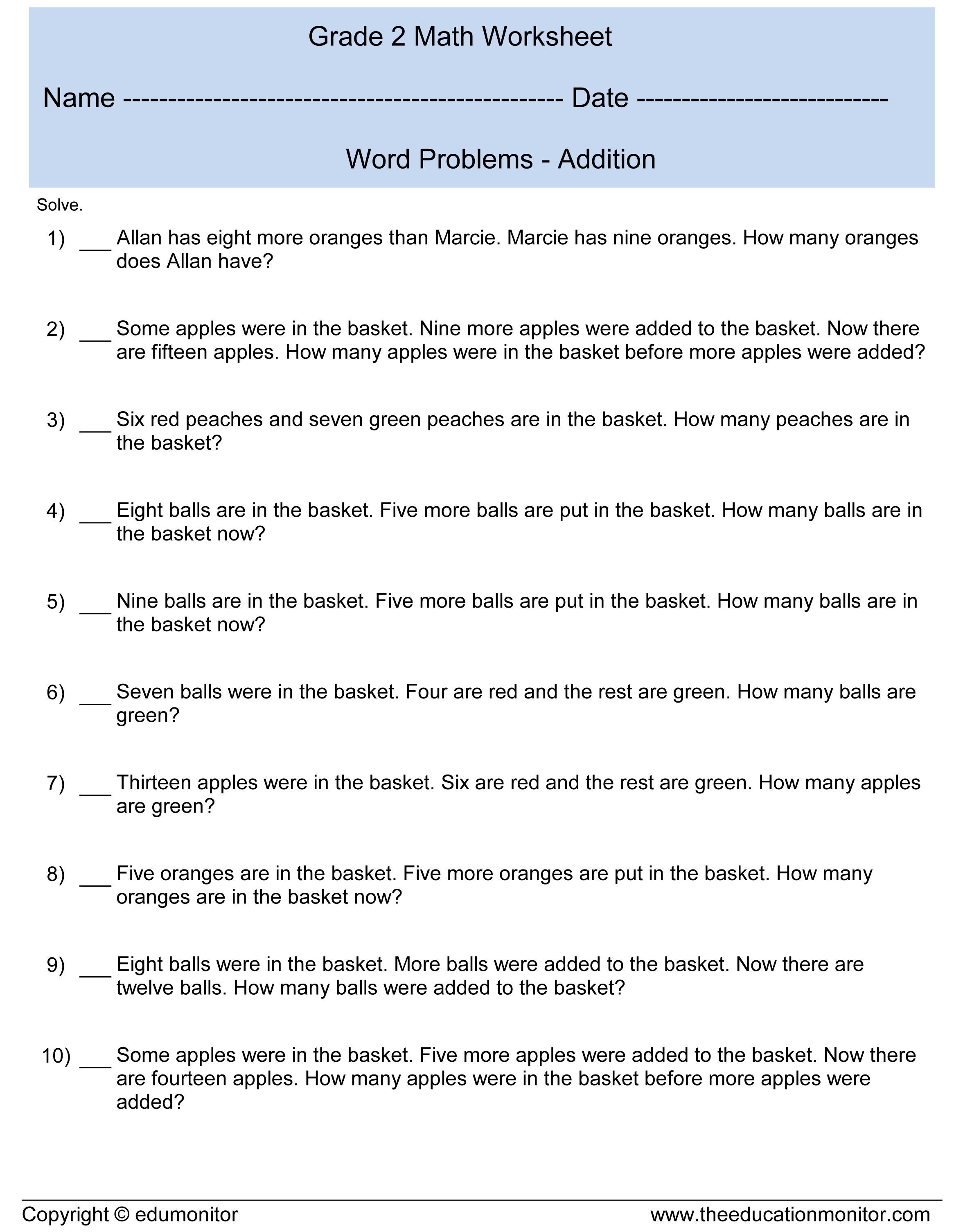 Worksheets For 2nd Grade Kids Theeducationmonitor
