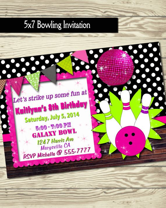 Bowling Invitation  Birthday Party  Bowling By Loveleedesigns