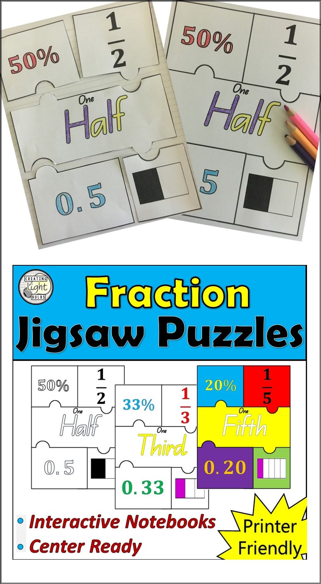 Fraction Jigsaw Puzzles. Perfect for Interactive Notebooks and Math ...