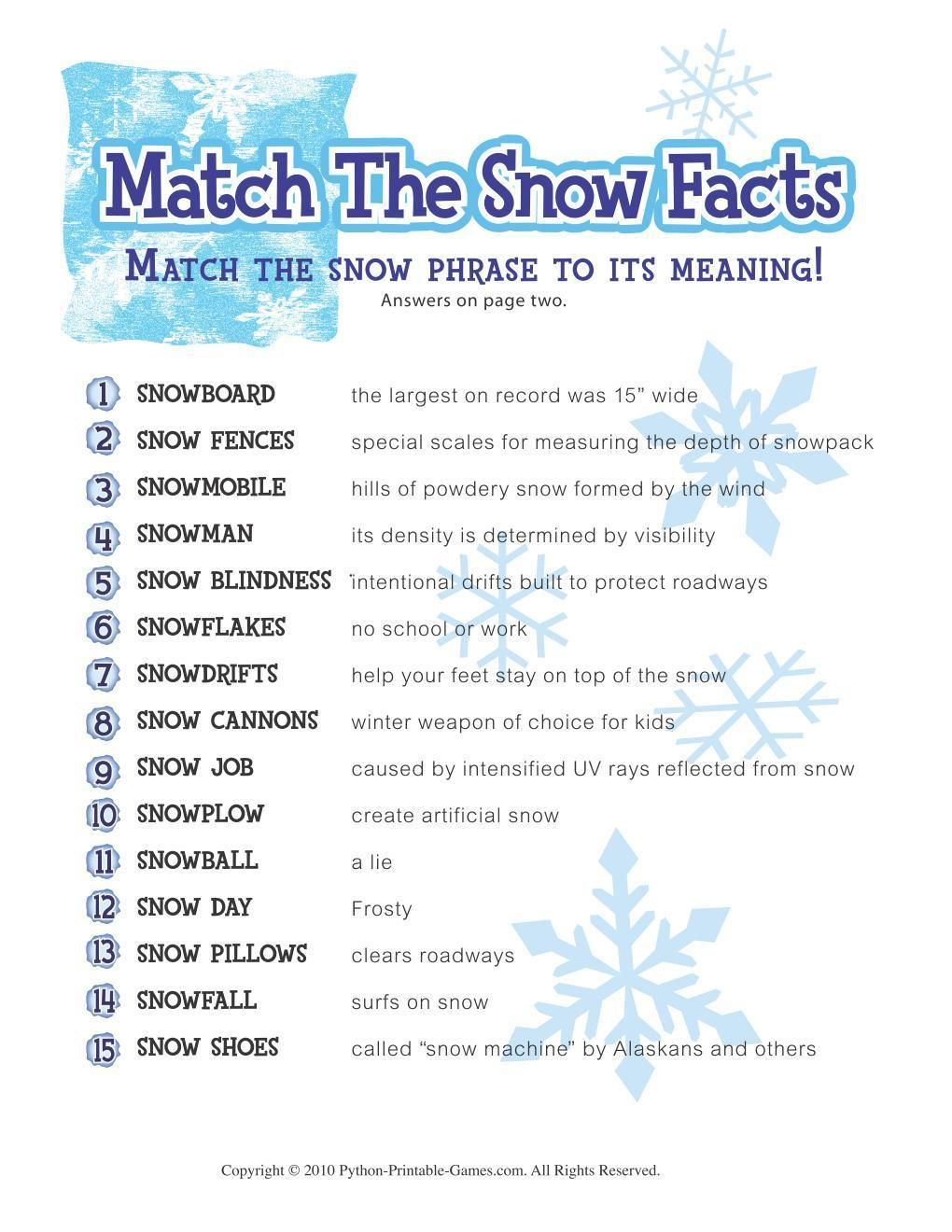 Free Printable Winter Game Match The Snow Facts Download -1487