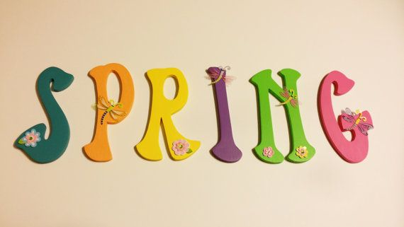 Hand Painted 6 inch Wooden Spring Monogram by DelawareStreetCrafts