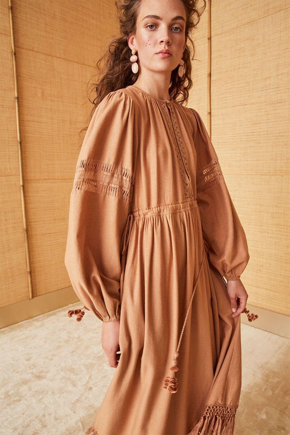 Ulla Johnson Kalea Dress in Clay. Handembroidered rustic