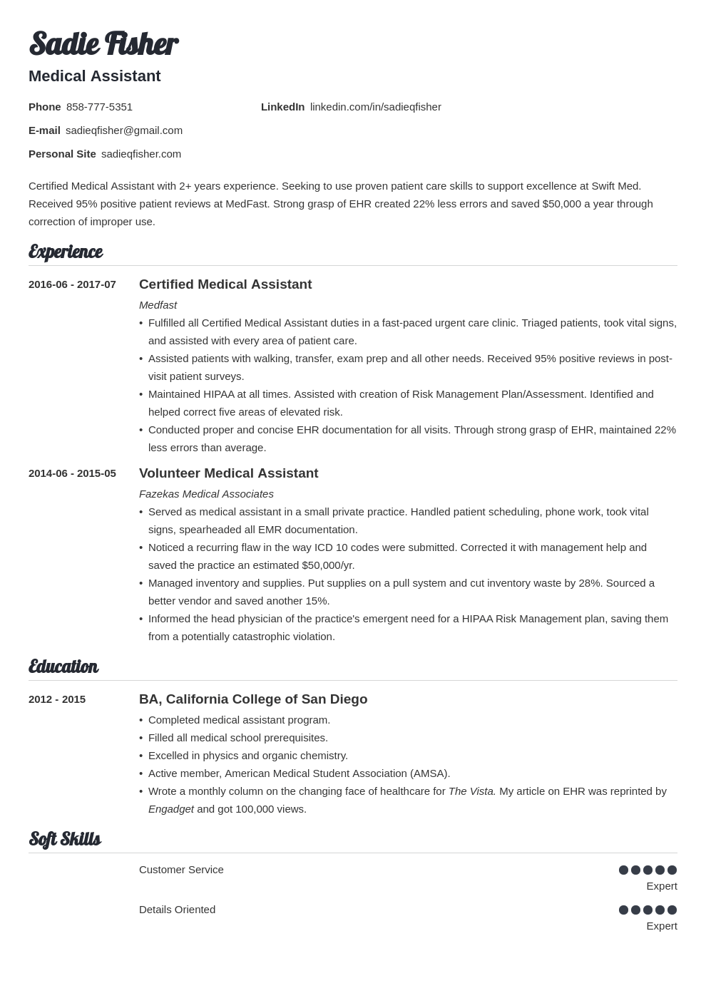 medical assistant resume example template valera in 2020