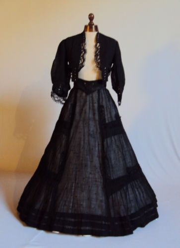 Late 1800's Matching Linen Bolero Long Full Skirt – Irish Lace Much Deta | eBay