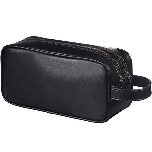f419b4b1ff HappyDavid Soft PU Leather Zipped Travel Toiletry Bag Mens Ladies Supply  Toiletry Bag Case(black