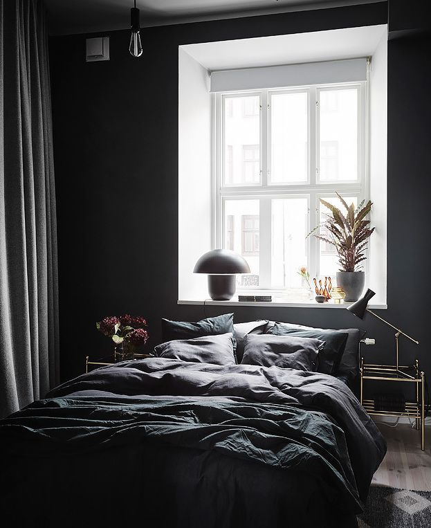 Exposed brick and black bedroom walls - COCO LAPINE DESIGN ...