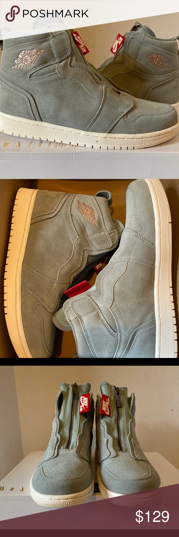 NEW! Women's Air Jordan 1 high zip NEW! Women's Air Jordan 1 high zip Super cute and very comfortable (cushioned insole) suede air Jordan sneakers Comes with original box with no lid, if you want it Fits true to size  Color: Mica Green Nike Shoes Sneakers #airjordan1outfitwomen