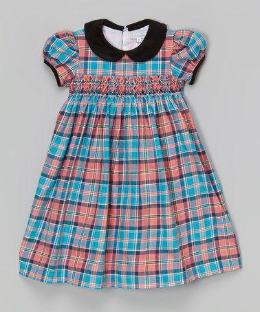 Look at this #zulilyfind! Aqua & Pink Plaid Smocked Dress - Infant, Toddler & Girls by Fantaisie Kids #zulilyfinds