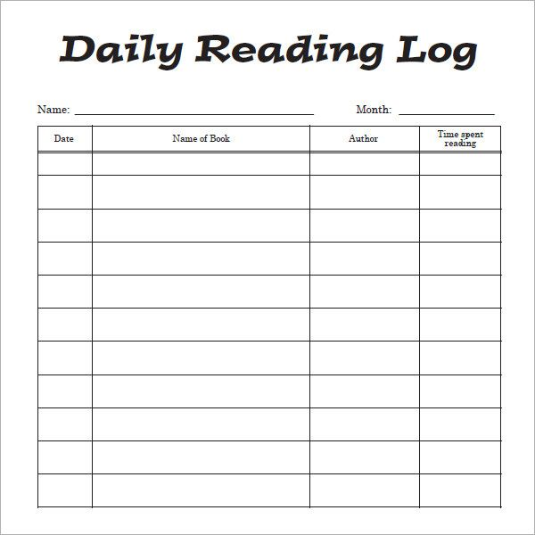 Reading Log Template Reading Log Printable Reading Logs