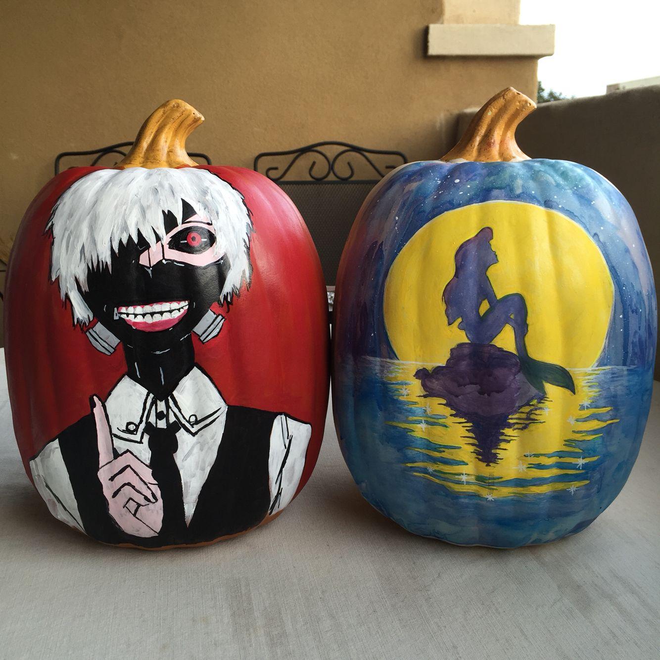tokyo ghoul and little mermaid pumpkins yup disney