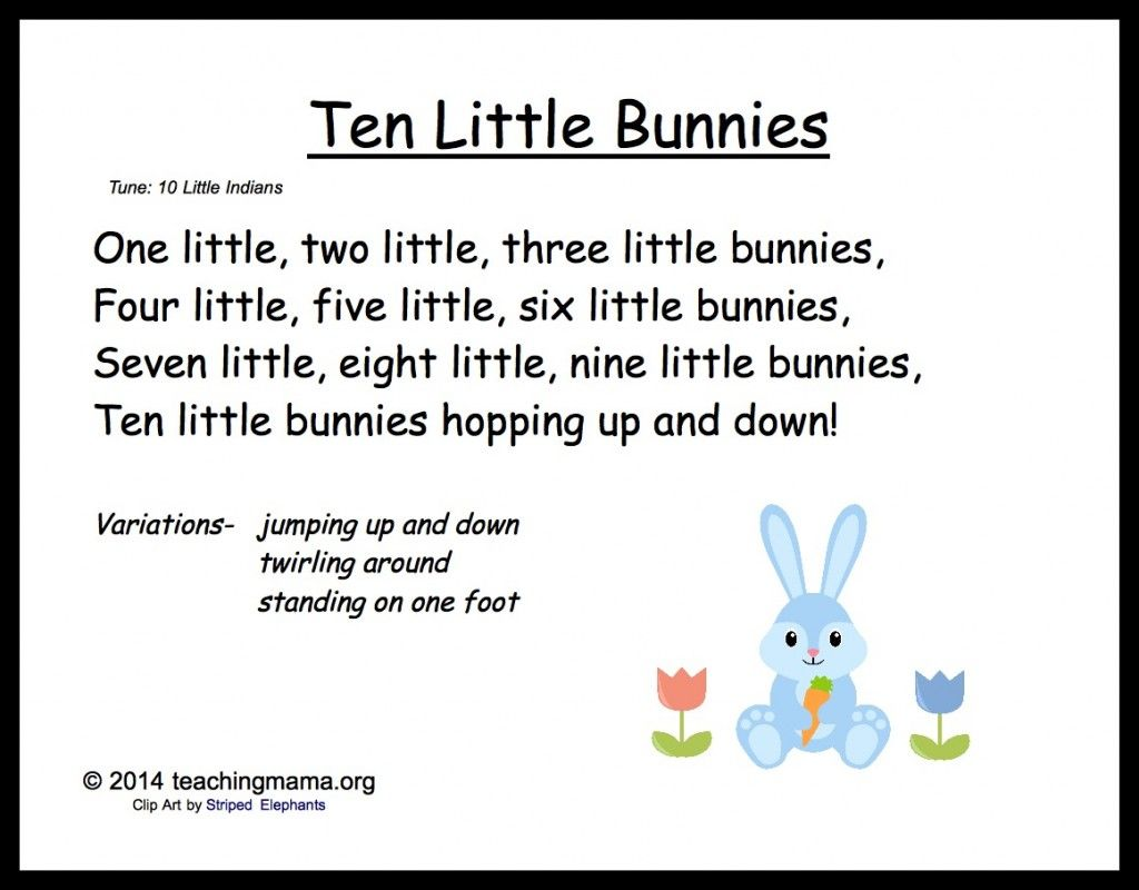 5 Bunny Chants For Preschoolers Storytime Easter