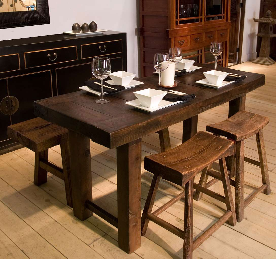 Plain Decoration Narrow Dining Table With Bench Nice Design Ideas