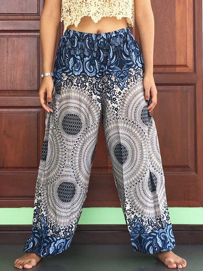 b4e4d3dd90fd Plus Size Mens Casual blue lightweight summer trousers womens Harem Yoga  long with side pocket waist elastic