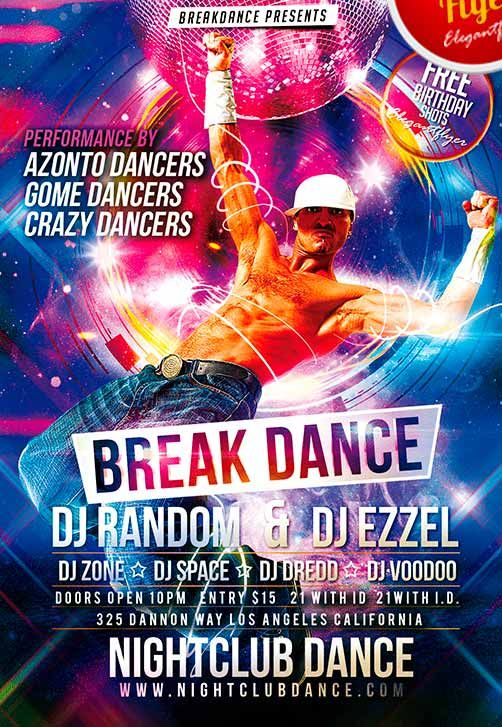 Break Dance Free Club and Party Flyer PSD Template\u2026 poster Party