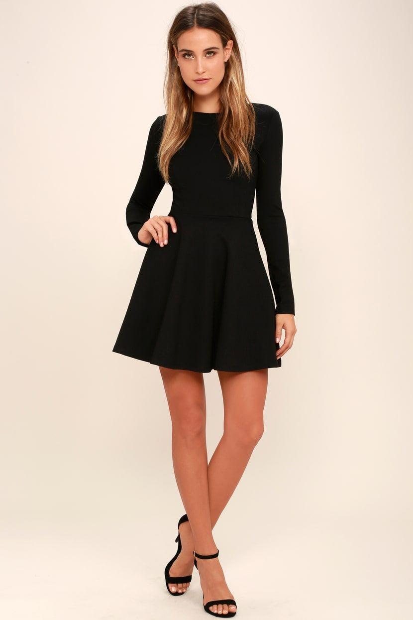b0a3a5b262539 Lulus | Forever Chic Black Long Sleeve Dress | Size Medium | 100 ...