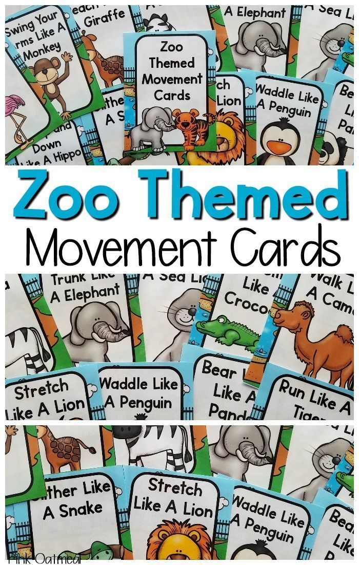 Zoo Movement Cards and Printables Preschool zoo theme