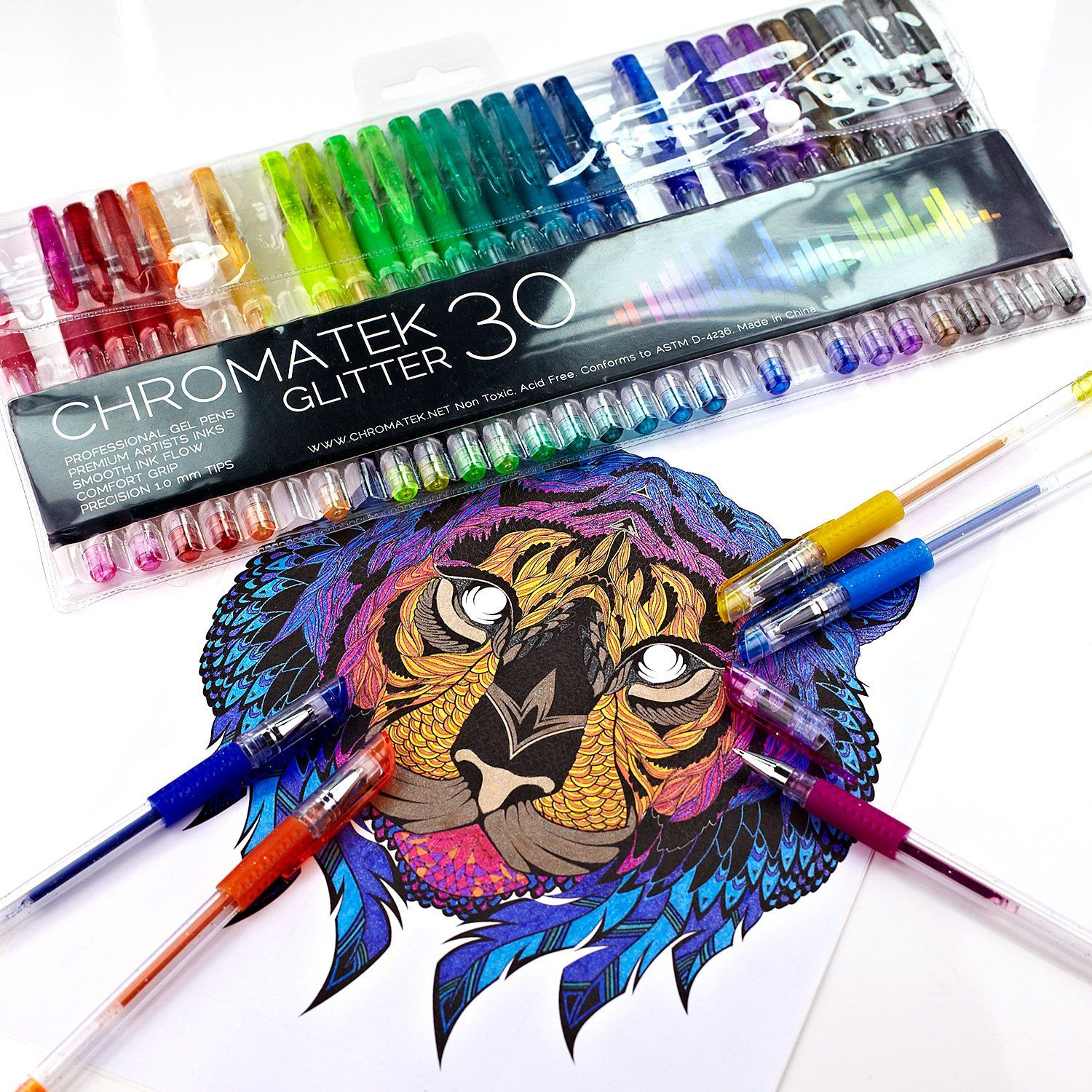 30 No 200/% the Ink: 30 Gel Pens Best Colors Glitter Pens 60 Set by Chromatek