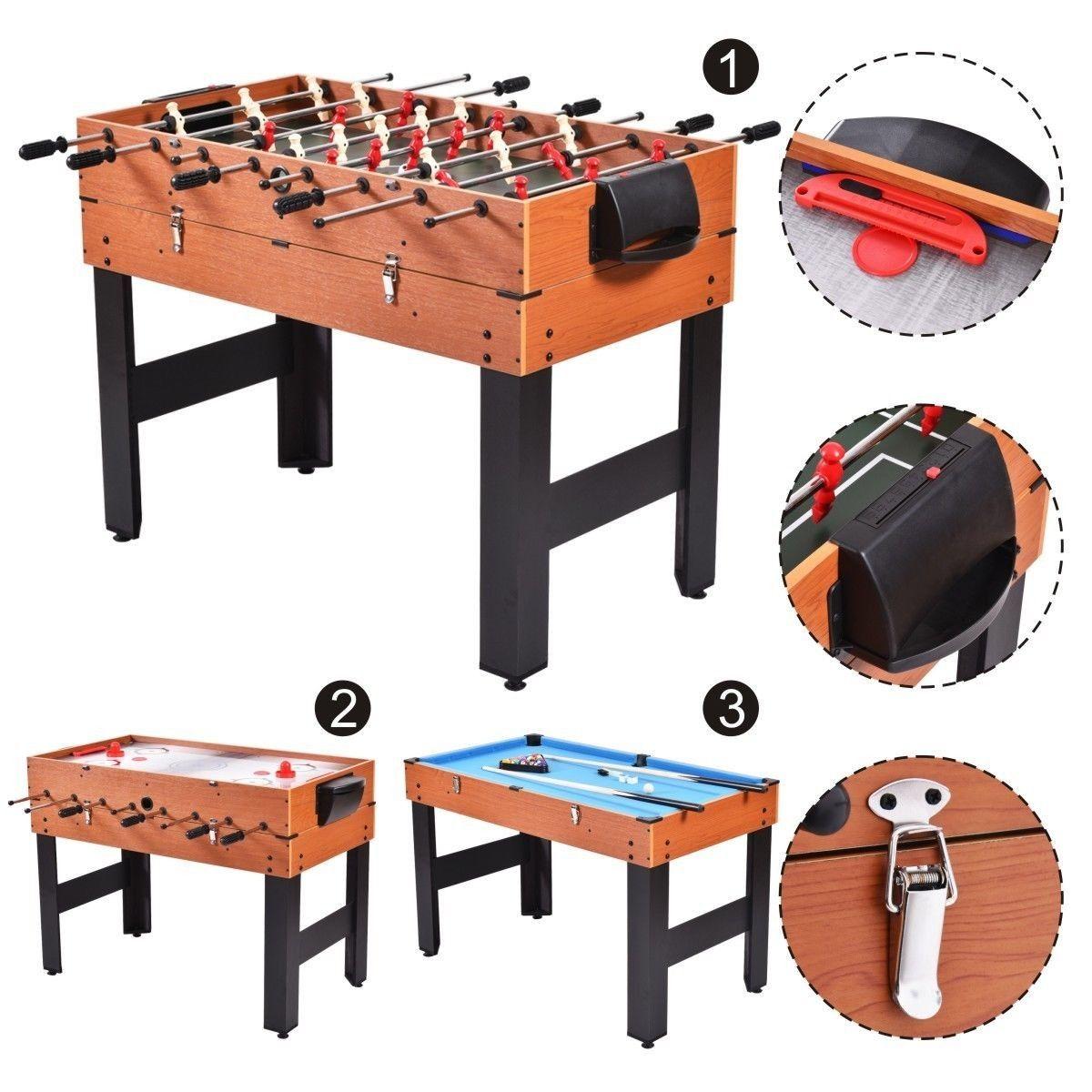 "48"" 3in1 Multi Combo Football Billiards Pool Hockey Game"