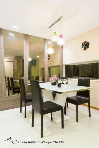 Dining Area With Bronze Mirror Feature Contemporary Interior Design Concept For A 4 Rm DBSS