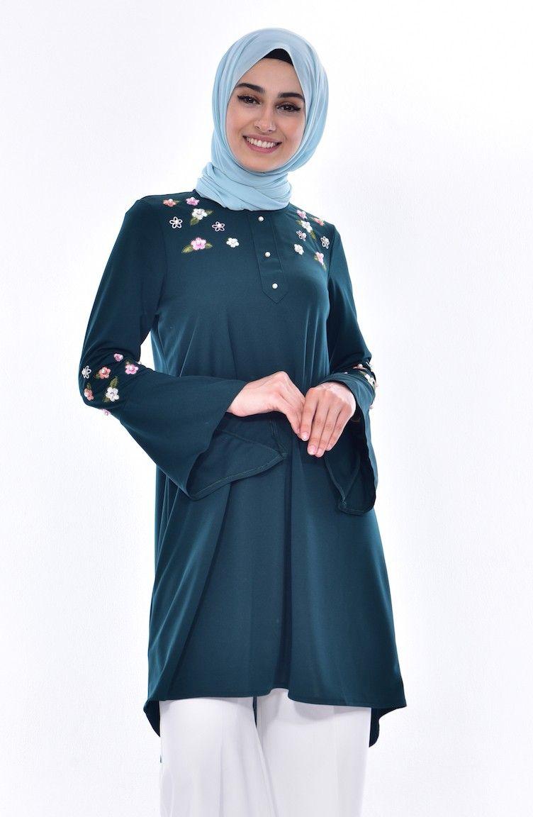 Inci Islemeli Tunik 3185 02 Zumrut Yesili Fashion Nun Dress Dresses