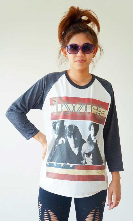 Black Psychobilly V Neck Graphic T Shirt  sc 1 st  Pinterest & The Doors T Shirts Jim Morrison T Shirts Long Sleeve - Tees ...