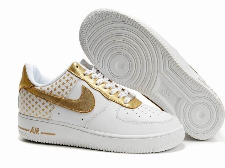(n39hm8)-Chaussures Nike Air Force 1 Low Femme Avec Le Blanc/Or