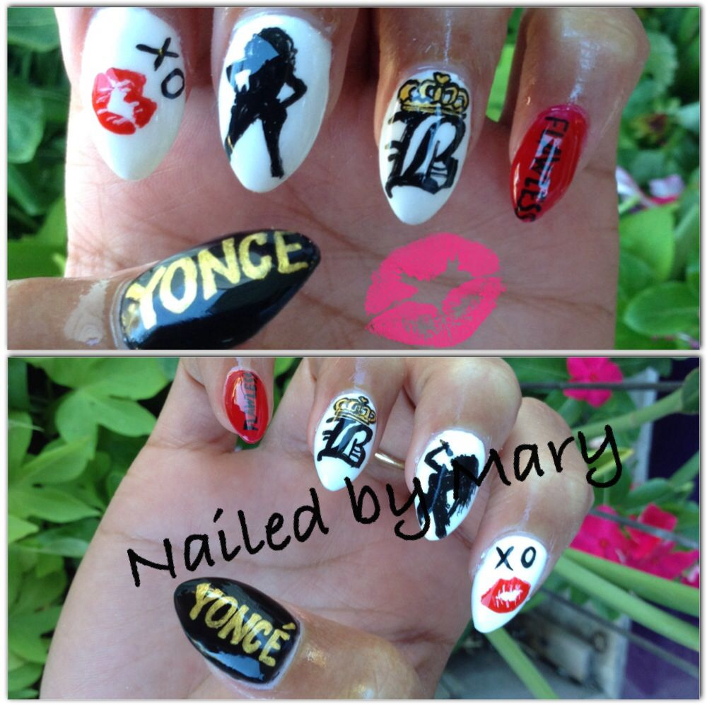 Flawless on the run tour Beyoncé silhouette nails
