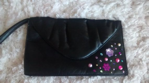 Hey, I found this really awesome Etsy listing at https://www.etsy.com/listing/225362648/black-leather-embellished-vintage-bag