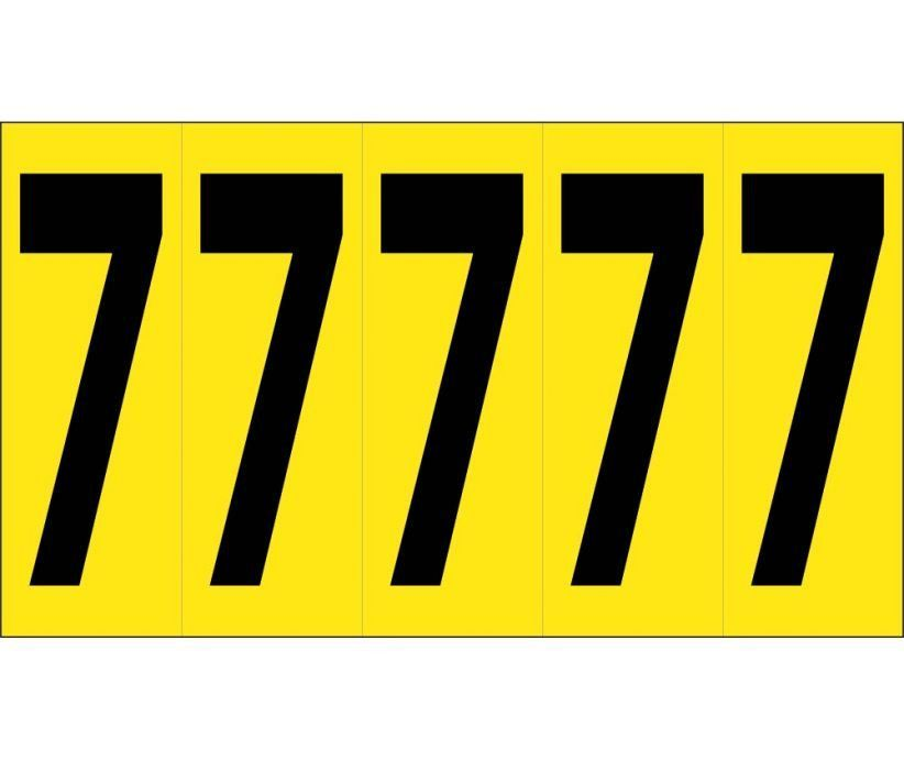"""Number CARD, 4"""" 7 (5 NumberS/CARD), PS CLOTH"""