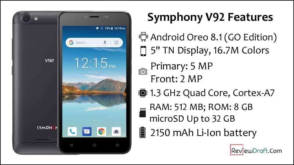 Symphony V92 Price in Bangladesh, Full Specification | Symphony