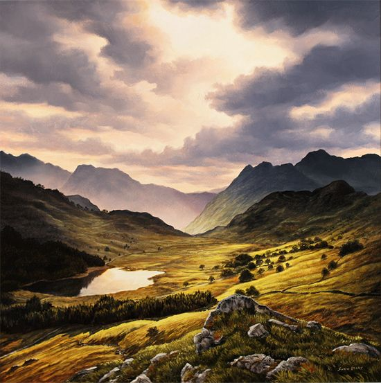 Suzie Emery Langdale Pikes Lake District Original Acrylic Painting On Board With Images Realistic Art Lake District England Lake District