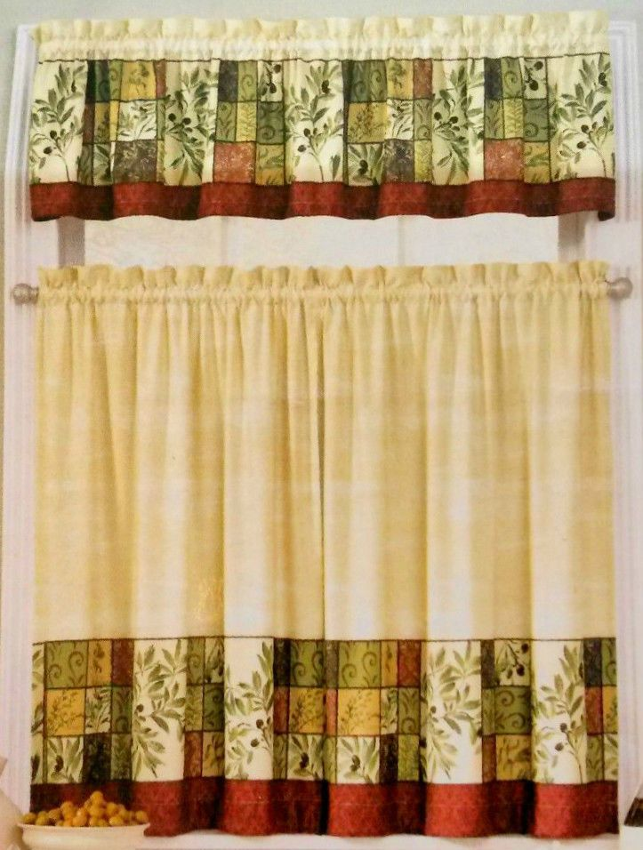 TUSCAN OLIVES Window Tiers U0026 Valance Green Tans Interiors By Design  Polyester #INTERIORSBYDESIGN #Mediterranean