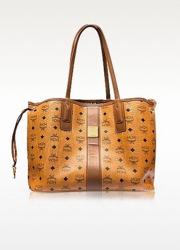 6323a493b0901 MCM COGNAC SHOPPER PROJECT VISETOS LIZ REVERSIBLE MEDIUM TOTE.  mcm  bags   canvas  tote  leather  lining  shoulder bags  hand bags