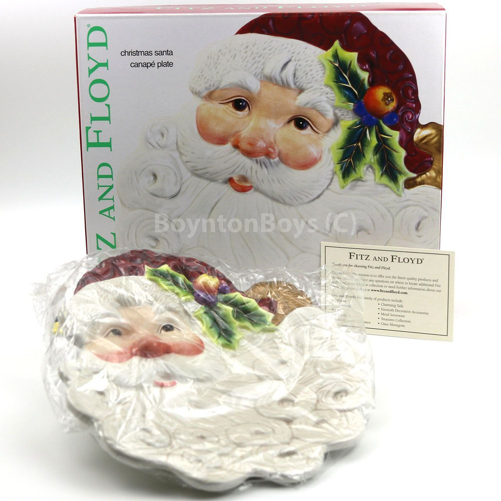 Fitz and Floyd CHRISTMAS SANTA Collector Plate Dish Canape Dessert ...