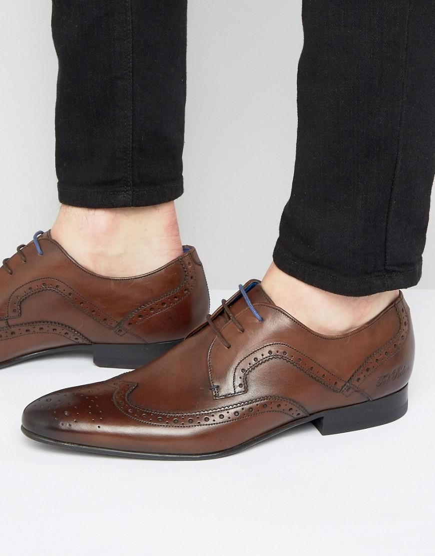 6f39457fd45a ASOS -  Ted Baker Ted Baker Oakke Leather Brogue Derby Shoes - Brown ...